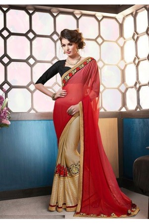 Party-wear-gold-red-black-color-saree