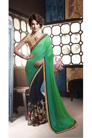 Party-wear-green-dark-blue-color-saree