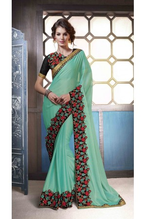 Party-wear-sky-blue-color-saree