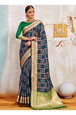 Navy blue and green Indian Silk wedding wear saree