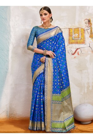 Blue Indian Silk wedding wear saree