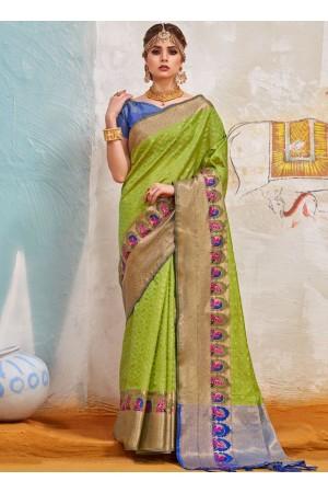 Olive green Indian Silk wedding wear saree