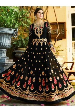 Black georgette embroidered wedding anarkali z505