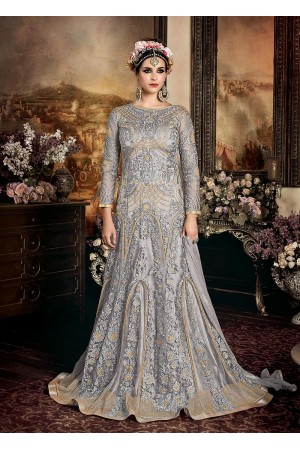 Blue color net wedding anarkali 103