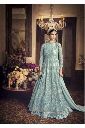 Blue color net wedding anarkali 107