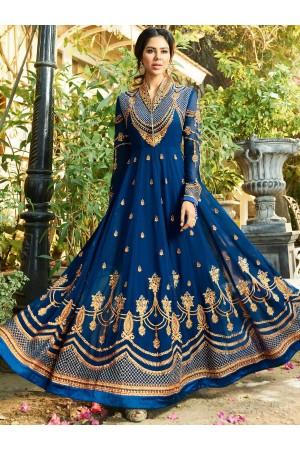 Blue georgette embroidered wedding anarkali z503