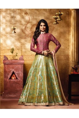 Jennifer winget banarasi silk party wear anarkali 11009