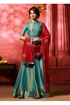 Jennifer winget blue banarasi silk party wear anarkali 11011