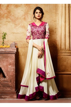Jennifer winget white party wear anarkali  11010