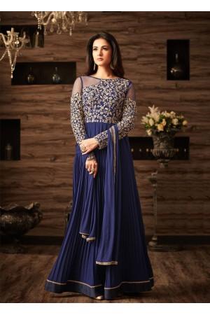 Sonal chauhan blue georgette wedding anarkali 4803
