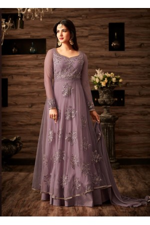 Sonal chauhan lavender color netted wedding anarkali 4807