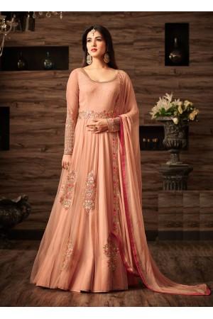 Sonal chauhan peach net wedding anarkali 4805