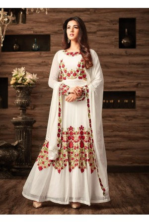 Sonal chauhan white georgette anarkali 4804