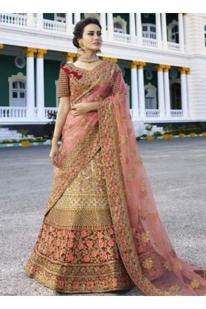 Beige peach heavy embroidered Indian wedding lehenga choli 13173