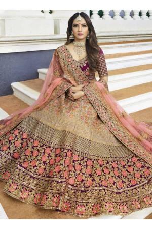 Cream purple heavy embroidered Indian wedding lehenga choli 13178