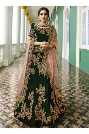 Green heavy embroidered Indian wedding lehenga choli 13176