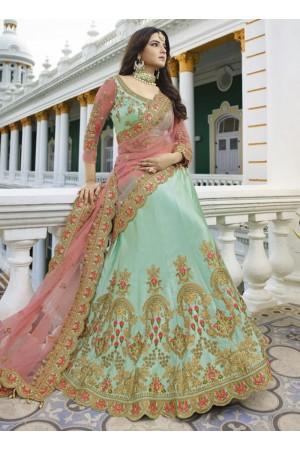 Sky blue heavy embroidered Indian wedding lehenga choli 13174
