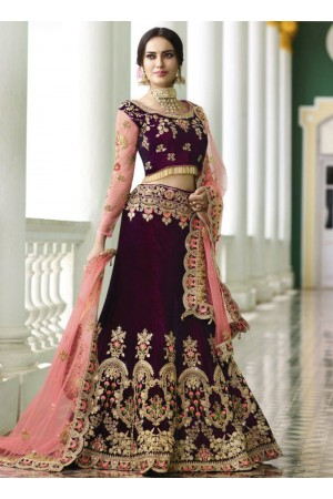 Wine silk embroidered Indian wedding lehenga choli 13172