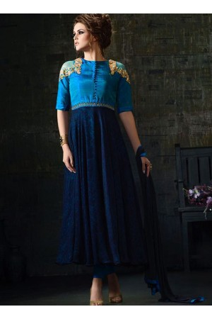 Navy blue color silk and georgette party wear anarkali kameez