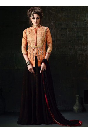 Orange and brown color silk party wear skirt and top