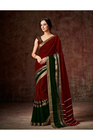Charmi Current Red Festive Wear Cotton Saree
