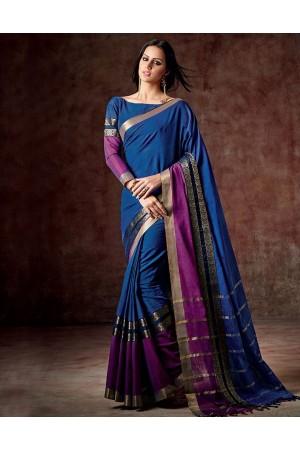 Charmi Marlin Blue Cotton Saree