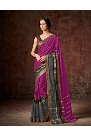 Charmi Rani Pink Festive Wear Cotton Saree