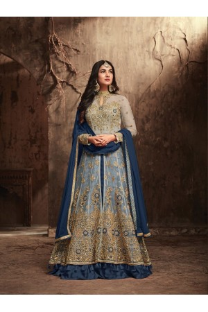 Sonal Chauhan Beige and Blue Net party wear anarkali kameez