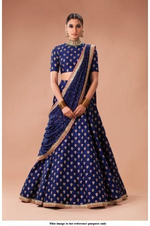 Bollywood Sabyasachi Inspired Navy blue art silk Wedding Lehenga