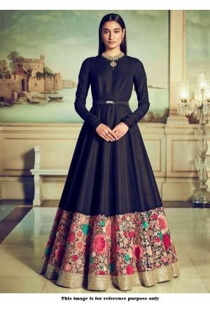 Bollywood Sabyasachi Inspired Black banglori silk Wedding Gown