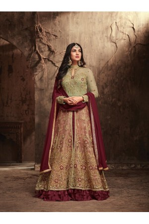 Sonal Chauhan Beige and maroon Net party wear anarkali kameez