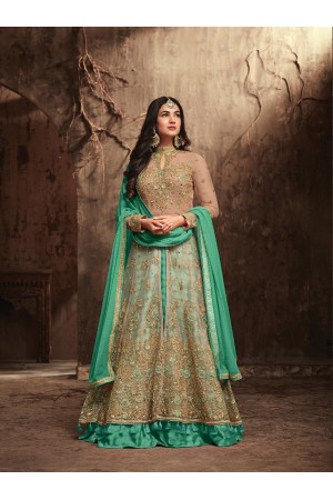 Sonal Chauhan Beige and Sea green Net party wear anarkali kameez
