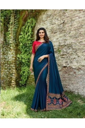 Bollywood Prachi Desai Blue and Pink silk designer party wear saree