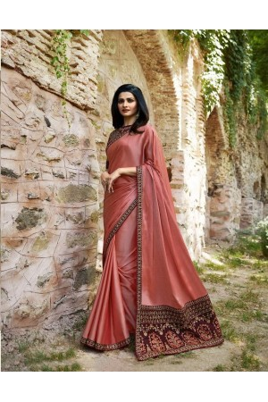 Bollywood Prachi Desai Peach silk designer party wear saree