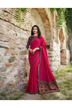 Bollywood Prachi Desai Rani color silk designer party wear saree