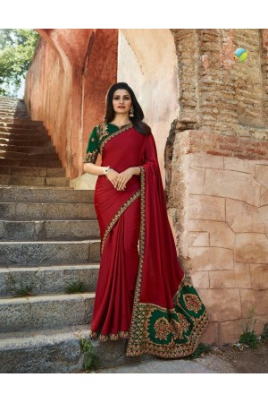 Bollywood Prachi Desai Red and green silk designer party wear saree