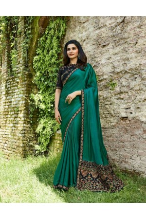 Bollywood Prachi Desai Teal green silk designer party wear saree