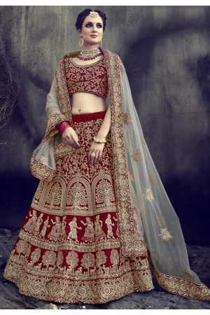 Deep red velvet wedding lehenga