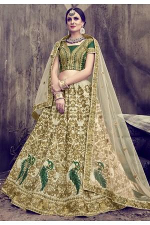 Cream color pure silk wedding lehenga