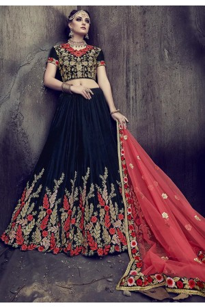 Blue color velvet wedding lehenga