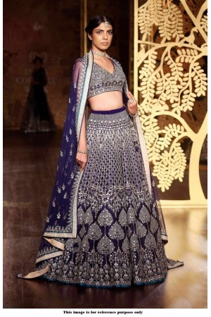 Bollywood Anita Dongre Inspired Navy blue Satin lehenga