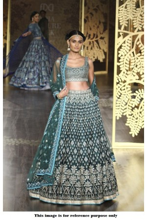 Bollywood Anita Dongre Inspired Deep Teal Green Satin lehenga