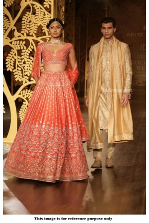 Bollywood Anita Dongre Inspired Orange Satin lehenga