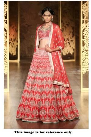 Bollywood Anita Dongre Inspired Red Satin lehenga