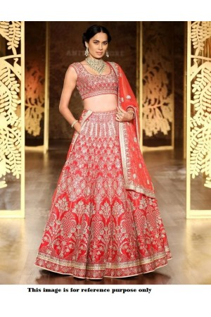 Bollywood Anita Dongre Inspired Red Satin lehenga