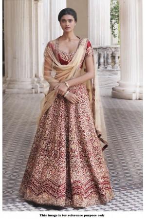 Bollywood Inspired Maroon color Mulberry silk lehenga