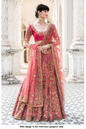 Bollywood Inspired Pink color malai satin silk lehenga