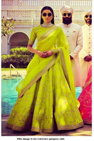 Bollywood Sabyasachi Mukherjee Inspired silk Green lehenga