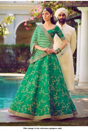 Bollywood Sabyasachi Mukherjee Inspired Malai satin Teal green lehenga