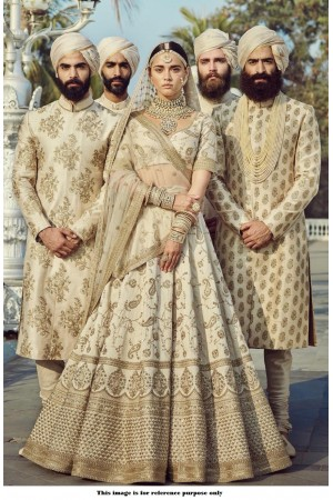 Bollywood Sabyasachi Mukherjee Inspired Malai silk White lehenga